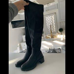 Zara black over the knee vinyl boots